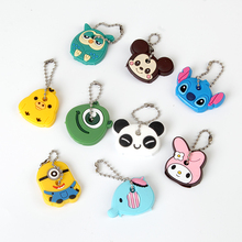 Cartoon Anime Cute Key Cover Cap Silicone Mickey Stitch Bear Keychain Women Gift Owl Porte Clef Hello Kitty Minne Key Chain