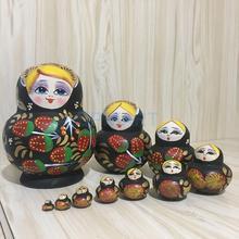 10 stück Erdbeere Gedruckt Holz Babuschka Russische Matryoshka Puppen Spielzeug Hause Zimmer Kaffee Shop Decor Ornament Spielzeug