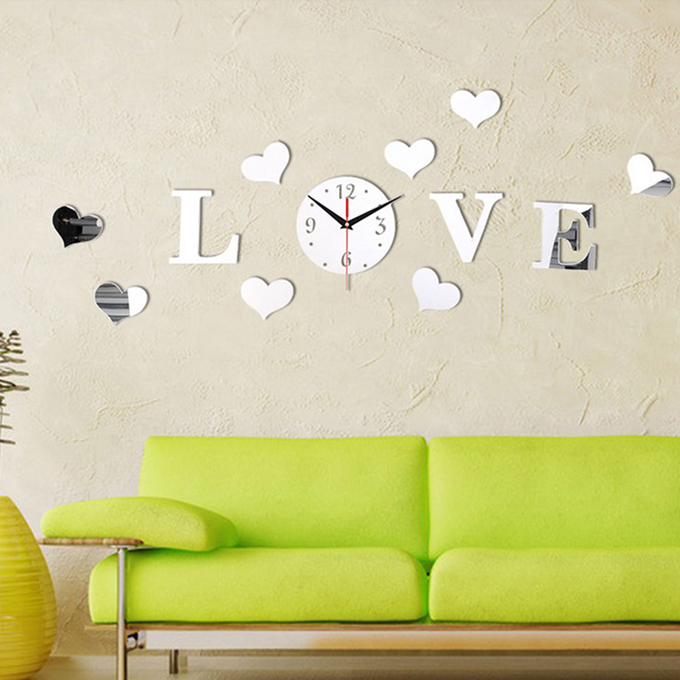 Creative Silver Color Acrylic 3d Mirror Effect Love Letter Decal Wall Sticker Clock Mechanism Home Decoration