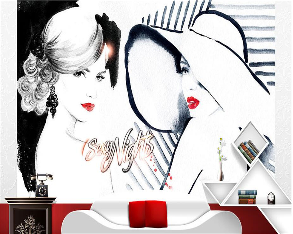 beibehang Korean fashion papel de parede wallpaper custom makeup embroidery decoration background wall straw hat beauty