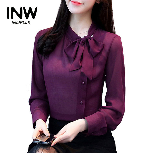 f62ba8d6 2019 New Arrival Women's Shirts Autumn Chiffon Blouse Shirt Work Wear  Office Tops Fashion Elegant Bow