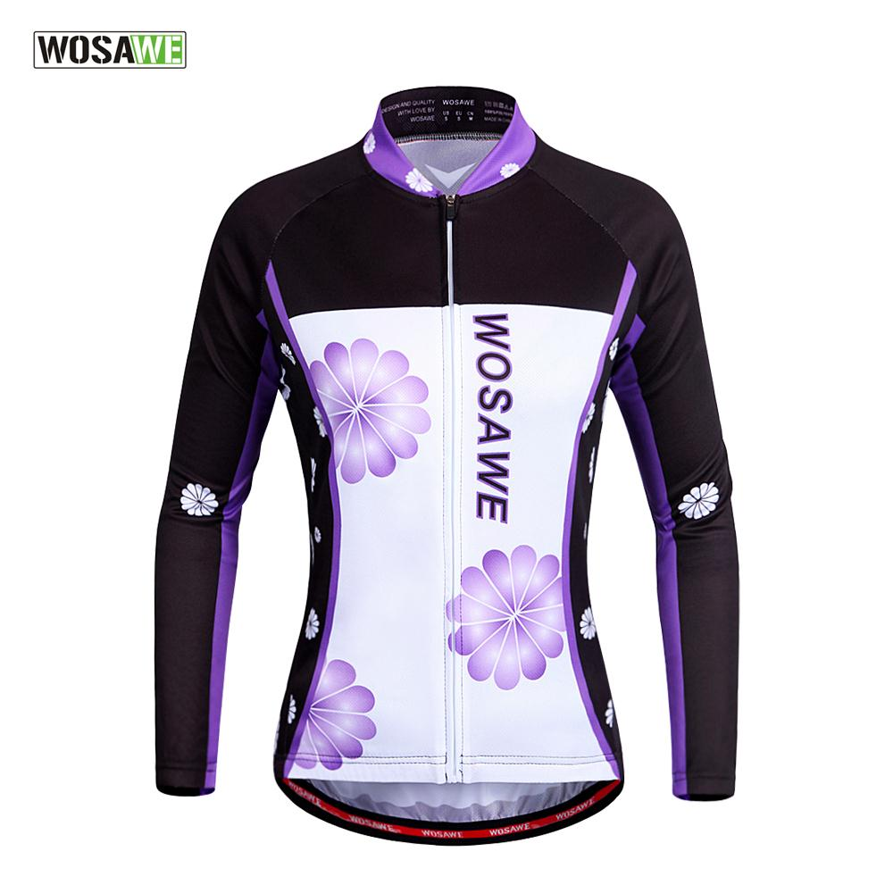 WOSAWE Cycling-Clothing Shirt Bicycle-Wear Long-Sleeves Women's Full Tops Quick-Dry
