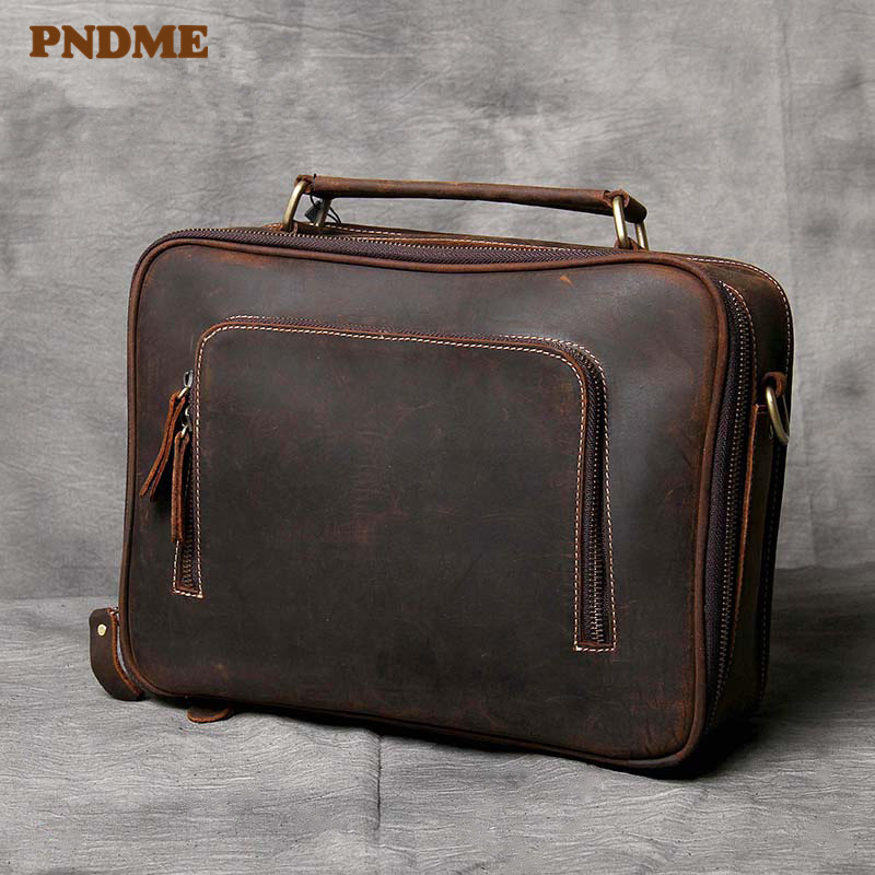 PNDME Retro Simple Crazy Horse Cowhide Men's Briefcase High Quality Designer Handmade Genuine Leather Office Laptop Shoulder Bag