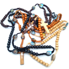 High Quality Fashion Rosary Wood Beads Jesus Cross Necklace Virgin Mary  Pendant Long Chain For Women 9cbae06964