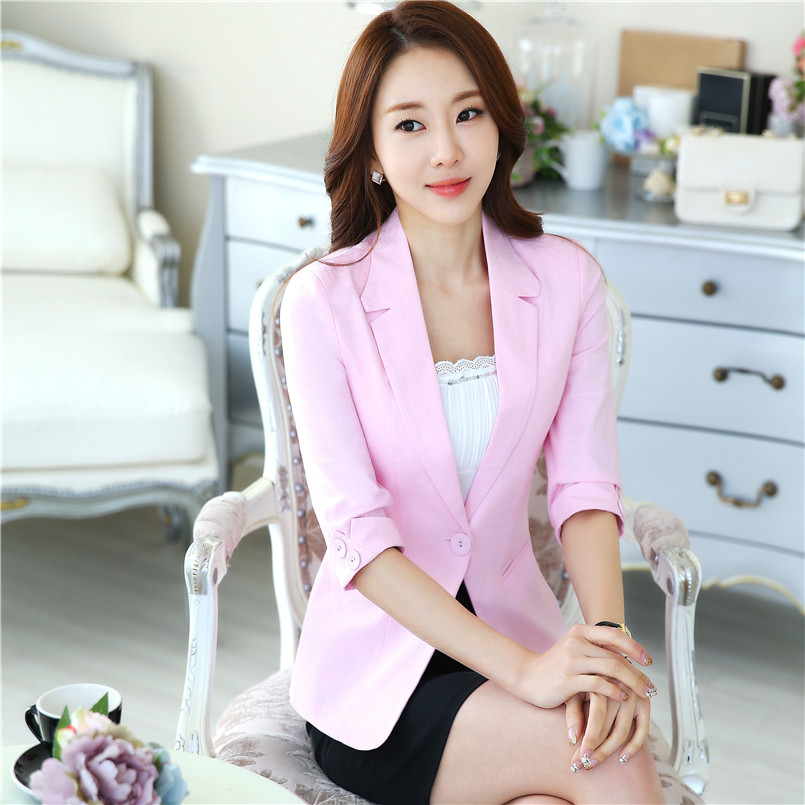Women Candy Color Half Sleeve Blazer Feminino Casual Work Office One Button Jacket Blazers Coat Plus Size S To 4XL