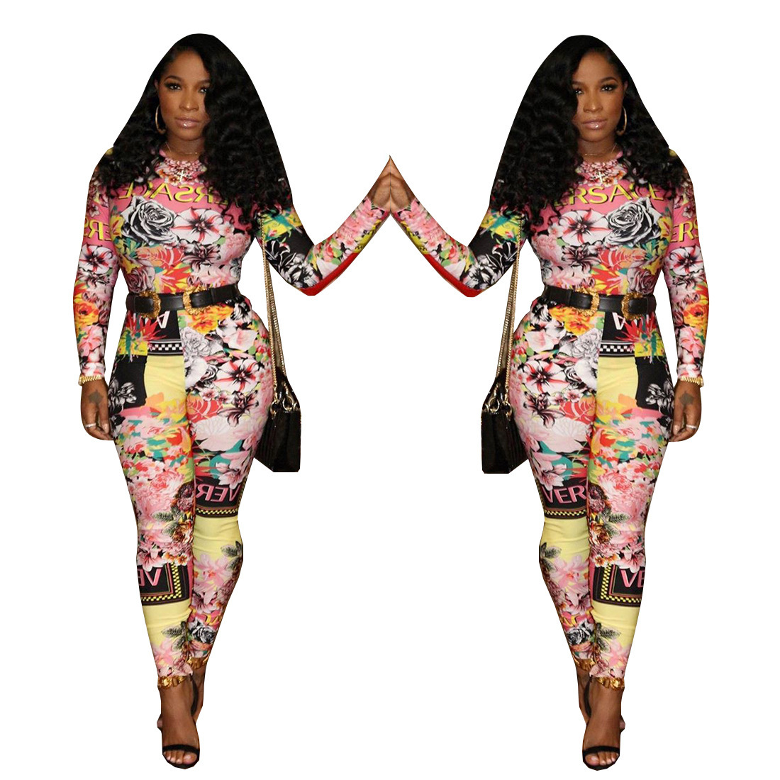 Fashionable new European and American printed Ebay hot style long sleeve   jumpsuit