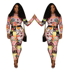 Fashionable new European and American printed Ebay hot style long sleeve jumpsuit(China)