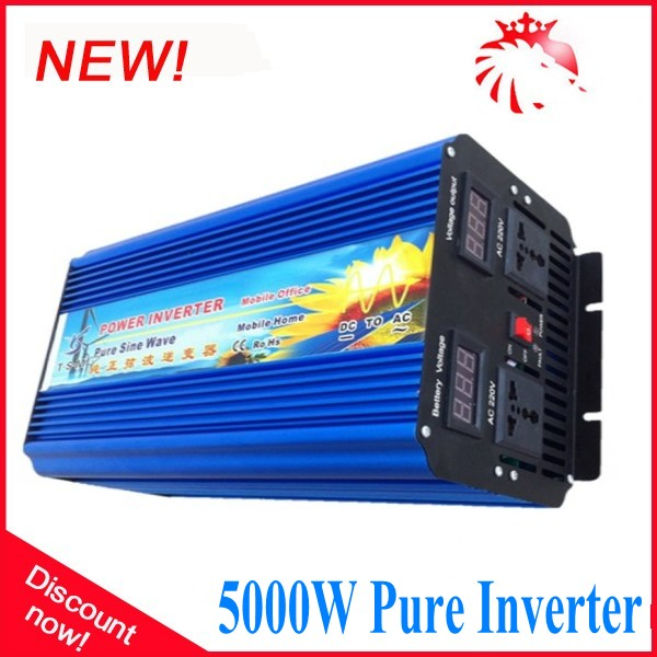 цена на Double Digital display 5000W 12/24/48v to 100/110/220/230/240V Off Grid Pure Sine wave Solar Inverter 10000W Peak power inverter