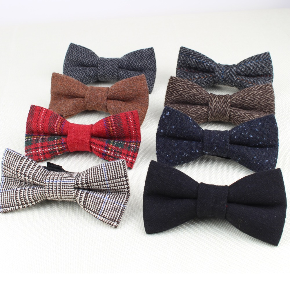 Unparteiisch Überlegene Klassische Formale 100% Wolle Fliege Gravata Mehrere Farben Hahnentritt Muster Krawatte Mens Luxus Krawatten Tweed Bowtie Tropf-Trocken Herren-krawatten & Taschentücher