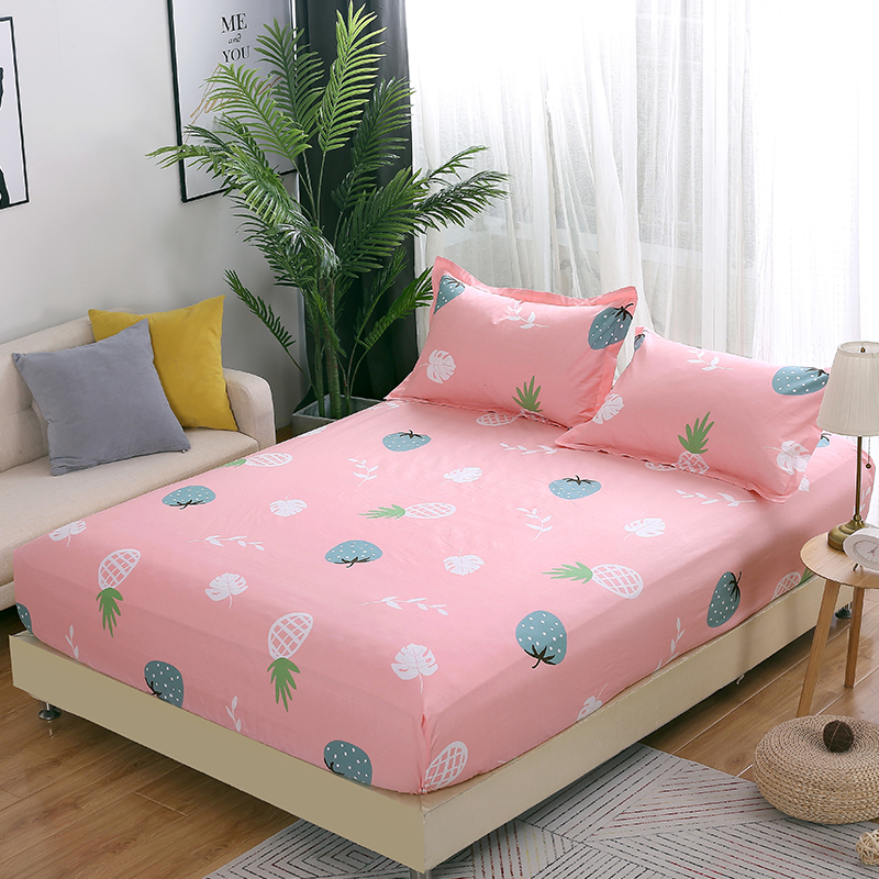 Pineapple strawberry Fitted Sheet Mattress Cover set Four Corners With Elastic Band Bed sheet twin full queen king bedclothes