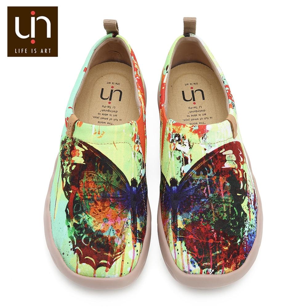 Uin 나비 손으로 그린 아트 캔버스 신발 여성용 와이드 피트 컴포트 로퍼 경량 캐주얼 여성용 소프트 스니커즈-에서여성용 플랫부터 신발 의  그룹 1