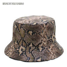 HANGYUNXUANHAO 2019 Cotton Snake Print Both Sides Bucket Hat Fisherman Outdoor Travel hat Sun Cap Hats for Men and Women