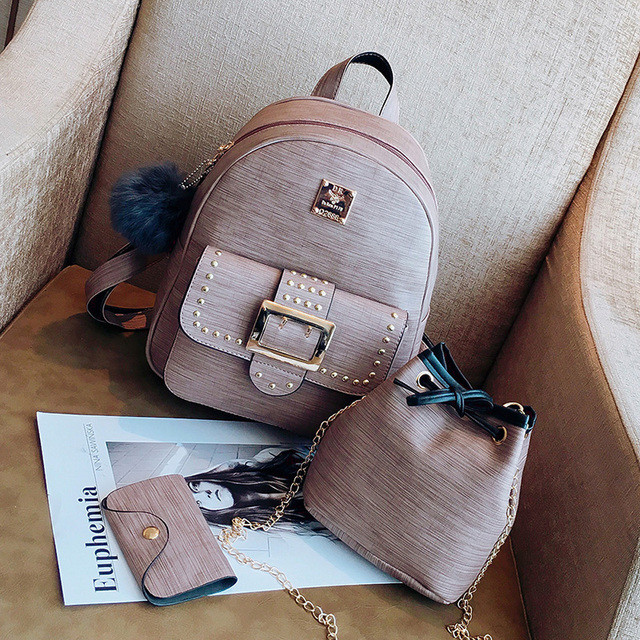 7729859a30 3Pcs Set Women Backpack Set pu leather female fashion casual backpack  +bucket bag+ket purse school bags for teenagers girls-4849