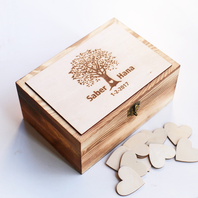 Us 28 7 13 Off Personalized Wedding Guest Book Custom Wooden Keepsake Box Wedding Box With 100 Hearts Rustic Tree Wedding Guestbook In Signature