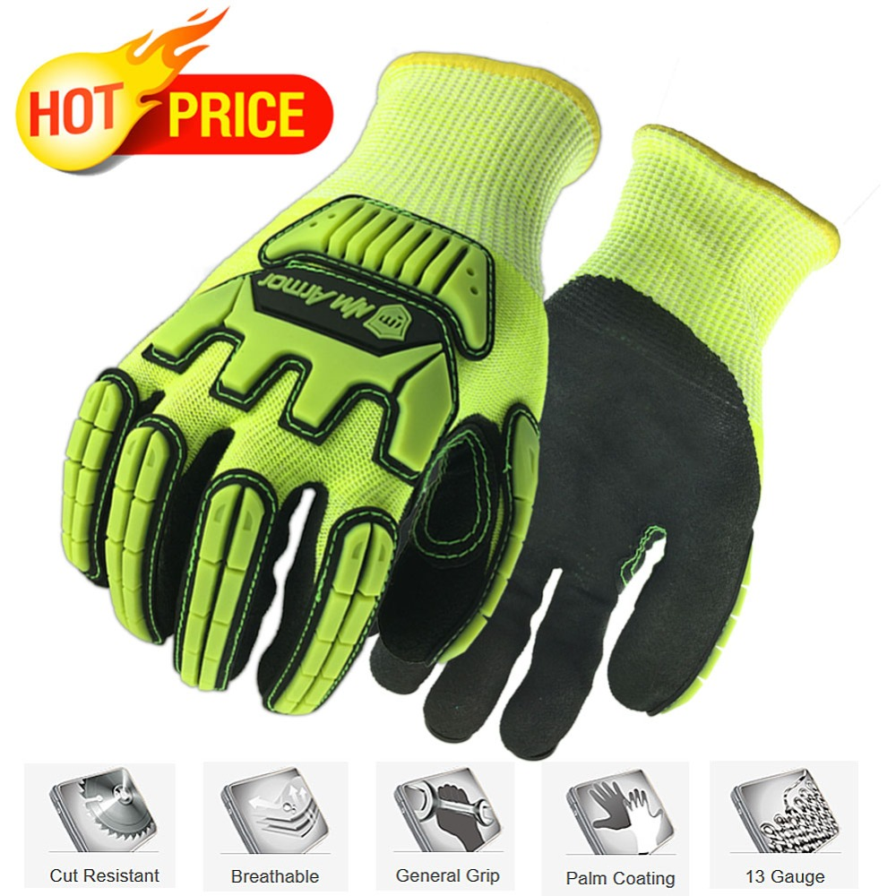 NMSafety Anti Vibration Cut Resistant HPPE Mechanics Safety Work Gloves NMSafety Anti Vibration Cut Resistant HPPE Mechanics Safety Work Gloves