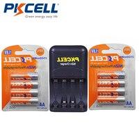 PKCELL 8pcs 1.6V NIZN AA Rechargeable Batteries NI Zn 2500mWh AA Batteries +1Pcs AA/AAA NiZn Battery Charger Drop shipping