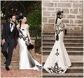 2015 New Arrival White Satin Black Embroidery Mermaid Court Train Lace Appliqued Beaded Sheer Wedding Dress bridal gown