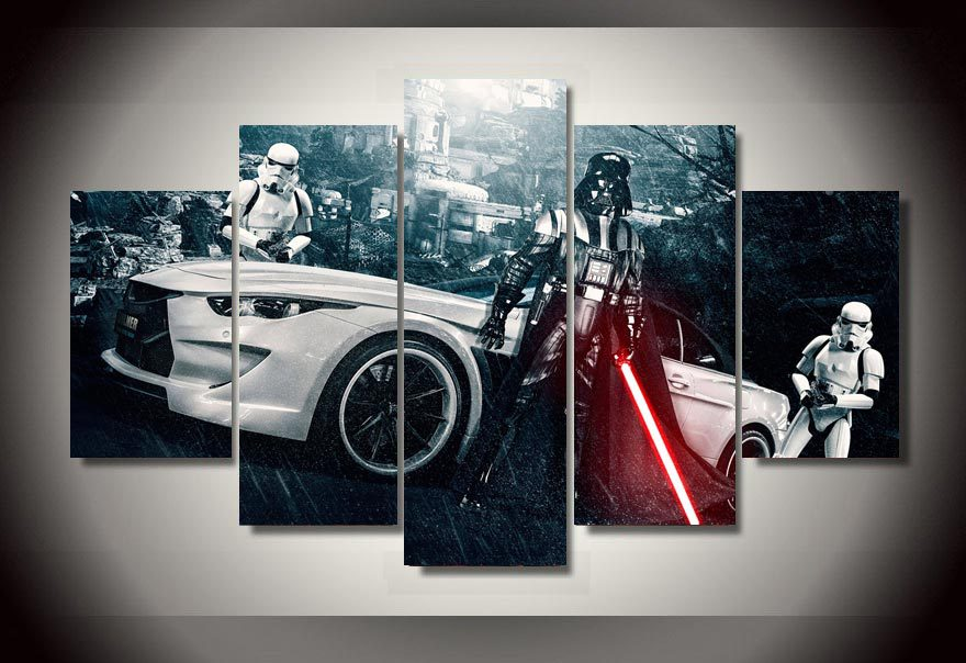 Framed Printed Star Wars Movie 5 piece picture painting wall art childrens room decor poster canvas Free shipping F/1312