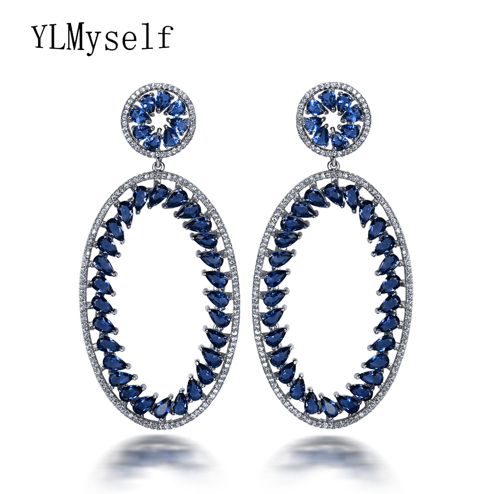 71mm long earrings for women orecchini Blue & Red Triangle cut cubic zirconia crystal Large Oval big earrings for night party a suit of chic fake pearl rhinestone oval triangle necklace and earrings for women