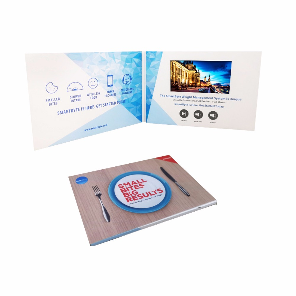 Custom production design 7inch video Brochure Universal Video Greeting Cards watching booklet for Advertising busines on