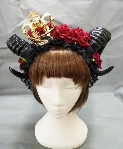 Halloween Adulto Diabo Chifres Vermelho Floral Bandana Fantasia Vestido Coroa Hairband Senhoras Goth Headpieces