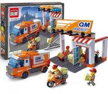 Enlightment 1119 City Series Express Station Minifigure Building font b Block b font 334Pcs Bricks Toys