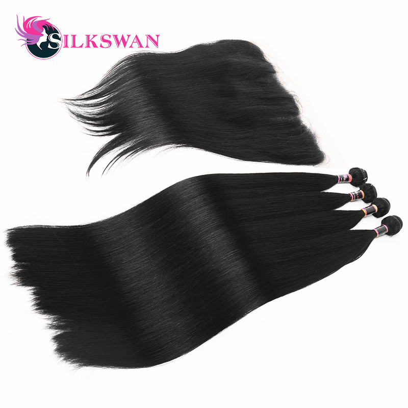 Silkswan straight Brazilian hair 3 bundles with lace frontal 13x4 Remy hair extension transparent lace 10 28 inch-in 3/4 Bundles with Closure from Hair Extensions & Wigs    2