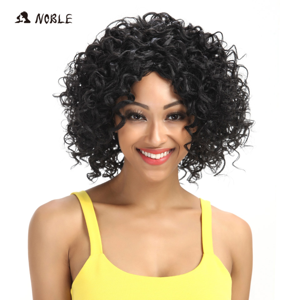 Noble Hair  Short Synthetic Wigs  Kinky Curly 1B Only Synthetic Wigs For Women Heat Resistant Free Shipping