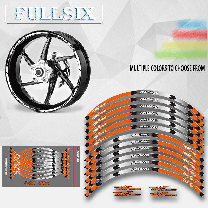 Motorcycle front and rear wheels Edge Outer Rim <font><b>Sticker</b></font> Reflective Stripe Wheel Decals For <font><b>KTM</b></font> <font><b>DUKE</b></font> 125 250 390 <font><b>790</b></font> 1290supe image
