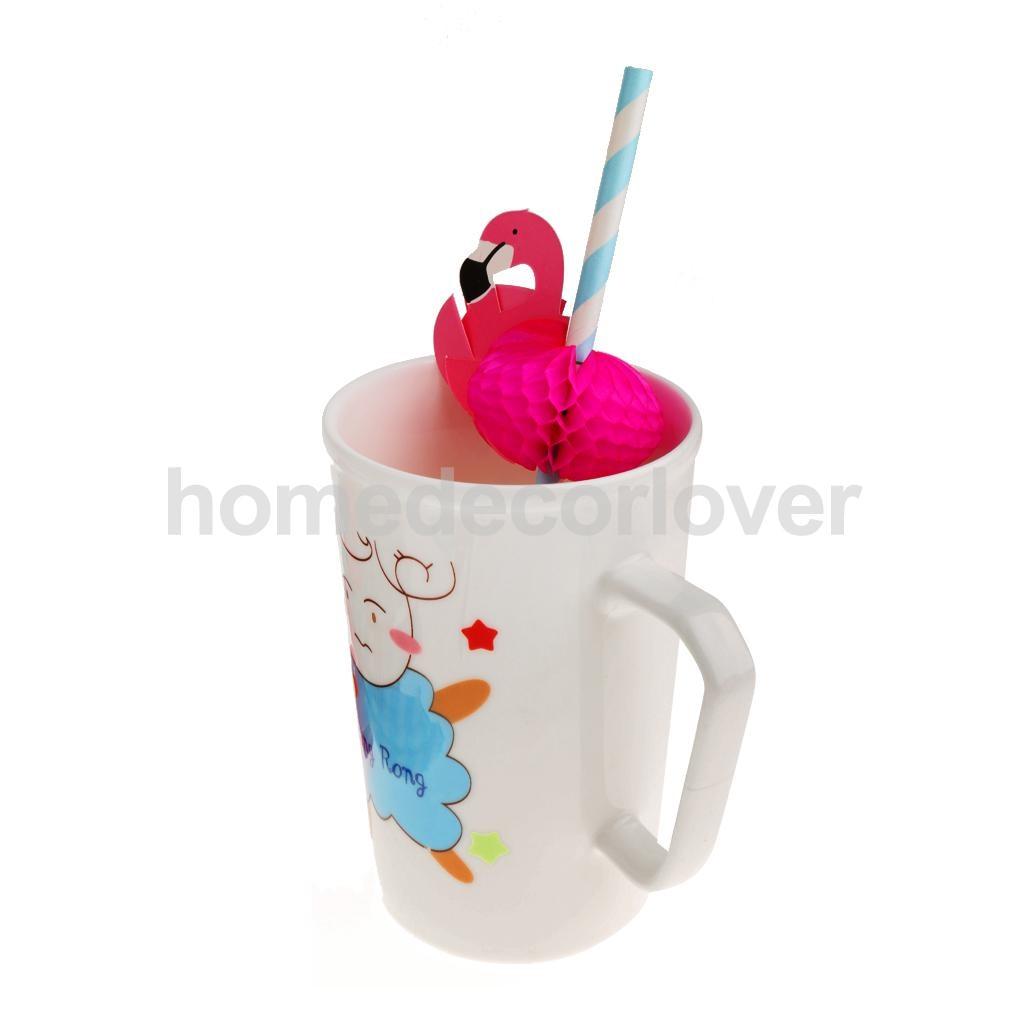 25 Quality Paper Xmas Birthday Party Funny Flamingo Striped Drinking Straws