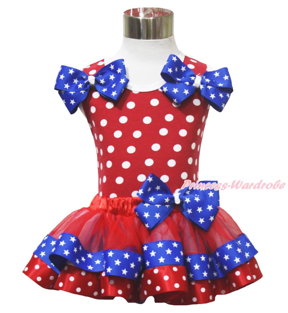 ФОТО Minnie Top 4th July Twin Patriotic Star Bow Red Blue Satin Trim Girl Skirt NB-8Y MAPSA0673