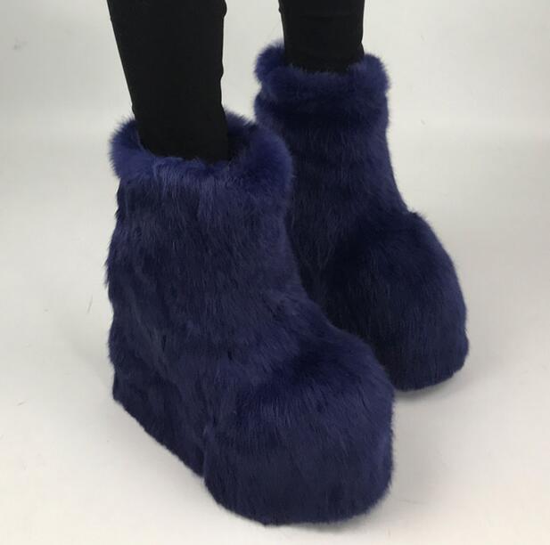 Здесь продается  Fashion Blue Fur Women High Platform Snow Boots 2018 Hot Ladies Warm Ankle Boots Round Toe Slip On Winter Boots Increased Heel  Обувь