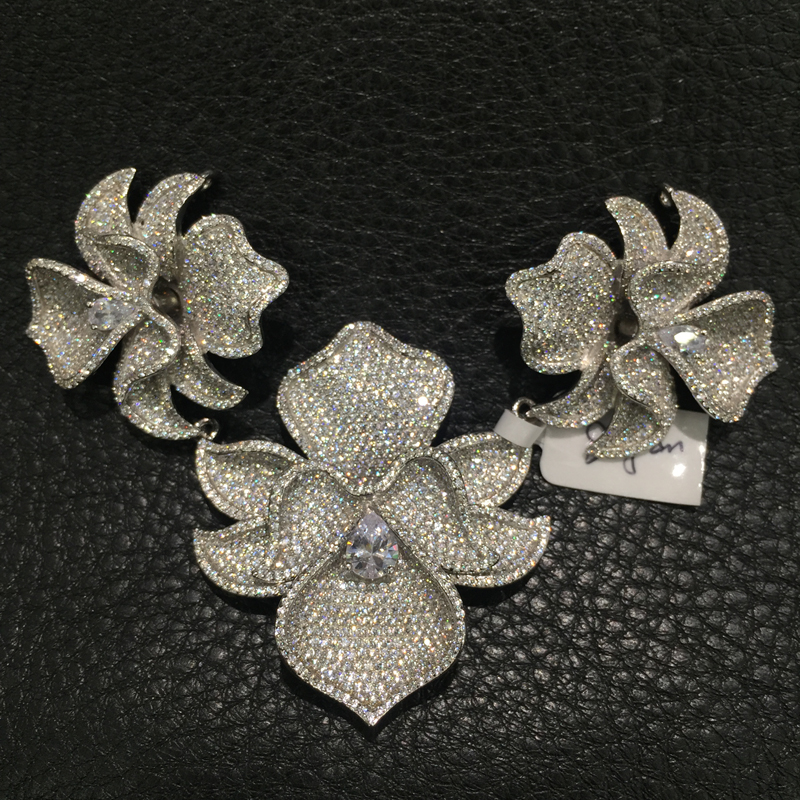 Bijoux à bricoler soi-même trouvailles & composants connecteurs pour collier 3 fleurs orchidée 925 argent avec zircon cubique pavé pierre femmes bijoux - 2
