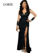 Side Split Schwarz Nixe-abschlussball 2016 Robe De Soiree Spitze V-ausschnitt Elegante Frauen Formal Lange Kleider Abendkleider Plus Größe
