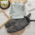 2017 Muchacha Del Muchacho que Arropan A Rayas, Top + Tirantes Pantalones de Algodón de Manga Larga Traje de Moda de Corea Niños Ropa Primavera Otoño Invierno