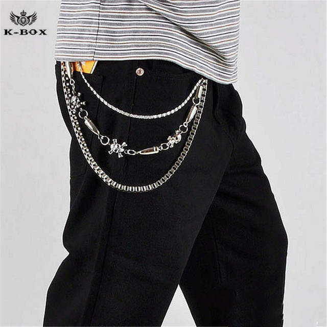 Hip-hop Punk Skull Cross Bullet Link Wallet Key Chain Three Layers Trousers Jeans Chain Unisex 3 Strands Chain