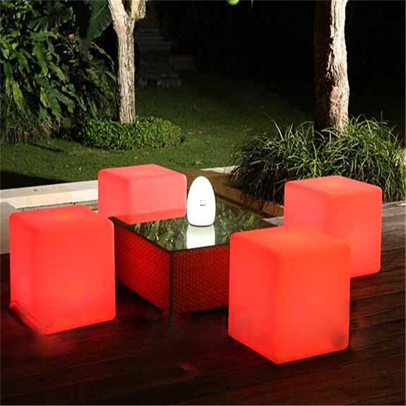 Free shipping led illuminated furniture,waterproof 40*40*40CM led cube chair bar stool,led seat rechargeable decorated Christmas