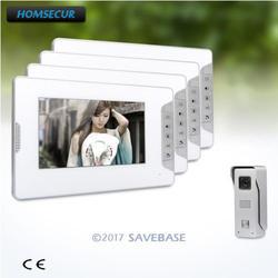 Homssecur 7 дюймов Проводная видеодомофон внутримониторное аудио взаимодействие + 1 камера + 4 монитора