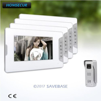 HOMSECUR 7inch Wired Video Intercom Intra Monitor Audio Interaction+1 Camera+4 Monitors
