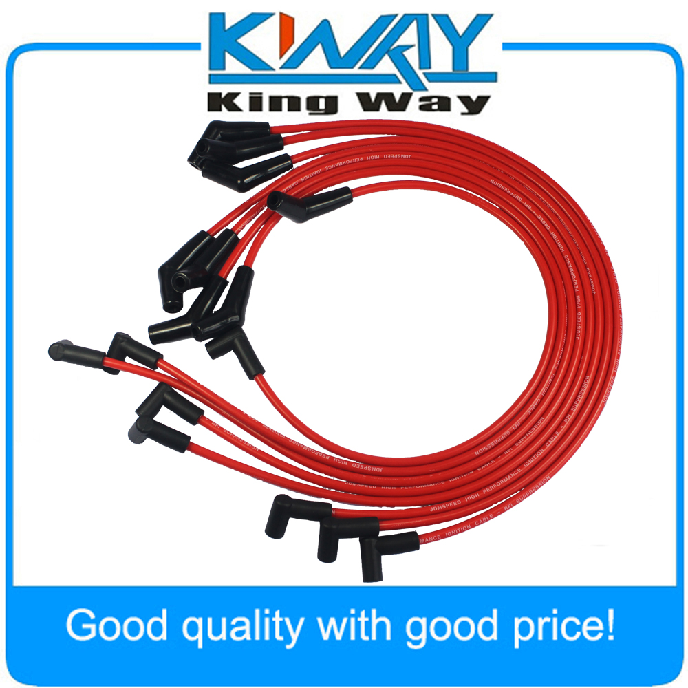 jdmspeed hei red spiral core spark plug wires 45 degree end accel 8871 fits for bbc chevy 396 427 454 502 in ignition cable kit from automobiles  [ 1000 x 1000 Pixel ]