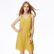 af7b0863e4 Express sell Amazon cross border 2018 European and American sexy V chiffon  vest buckle dress waist dress