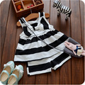 new 2016 summer clothes suit striped bow vest+pants 2pcs infants girls clothing sets casual girl baby set for newborn outfits