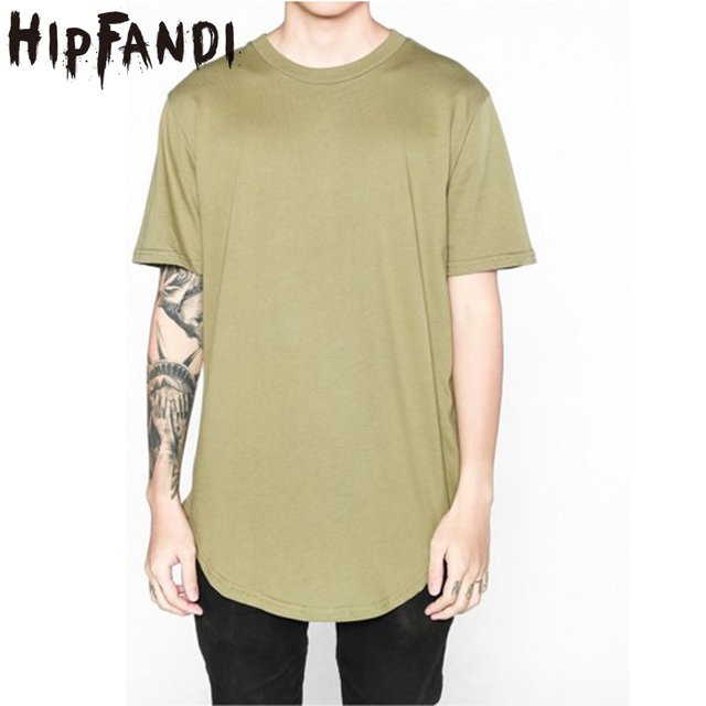 c1431f566c9 HIPFANDI 2018 Summer Men s T Shirt Kanye West Extended T-Shirt Men Curved  Hem Longline Hip Hop T-Shirt Blank Tee Shirts Clothe