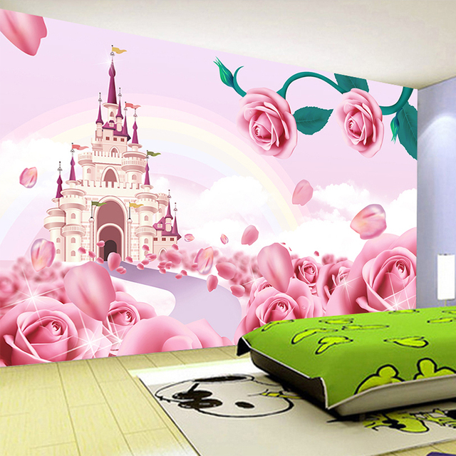 3D Cartoon Pink Castle Rose Wall Cloth Wallpaper Childrens Girl Bedroom Background Covering Modern Home