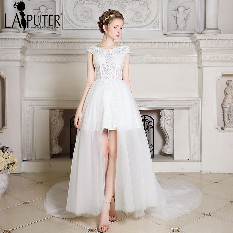 Very Low Budget Wedding: LAIPUTER !! 2017 New Arrival Hi Low Lace Elegant Cheap
