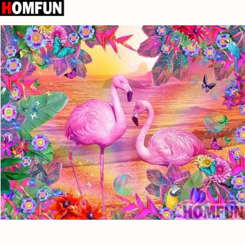 HOMFUN Full Square/Round Drill 5D DIY Diamond Painting Animal flamingo Embroidery Cross Stitch 5D Home Decor Gift A18136 homfun 5d diy diamond painting full square round drill animal dinosaur embroidery cross stitch gift home decor gift a08272