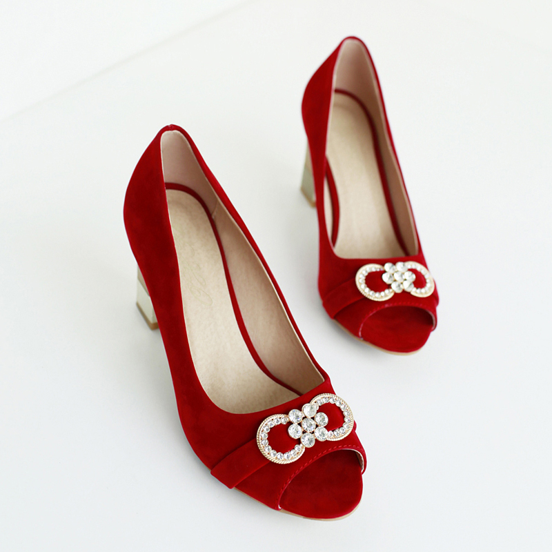 South Korean sweet style sexy peep toe pumps fashion diamond bowknot red blue black high-heeled women shoes big size 21.5~26.5cm рубашка в клетку dc south ferry 2 south blue