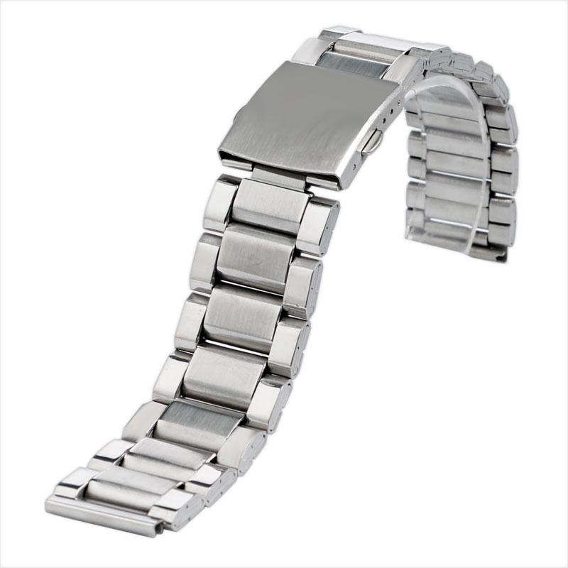High Quality Silver Stainless Steel Watchbands 20mm/22mm Watch Strap Folding Clasp Bracelet + 2 Spring Bars For Men Wristwatch 22mm silver replacement folding clasp with safety shark mesh men watch band strap stainless steel 2 spring bars high quality