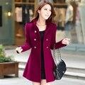2XL 2017 primavera outono casaco de lã feminino de médio-longo outerwear de lã das mulheres magro sexy outono e inverno longo cheio de espessura trincheira