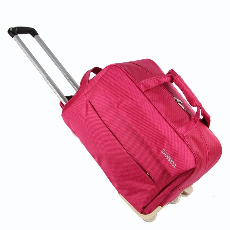 Повседневная нейлоновая Водонепроницаемая Дорожная сумка на колесиках фуксия чемодан тележка для женщин на колесиках дорожная для багажа чехол с Drawbars 2 размера